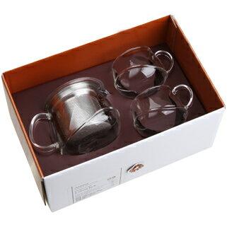 【佑銘嚴選E-GL005-B3-B】不倒翁(400ml壺+2杯)3入禮盒/雙層玻璃保溫杯/茶壺/茶杯