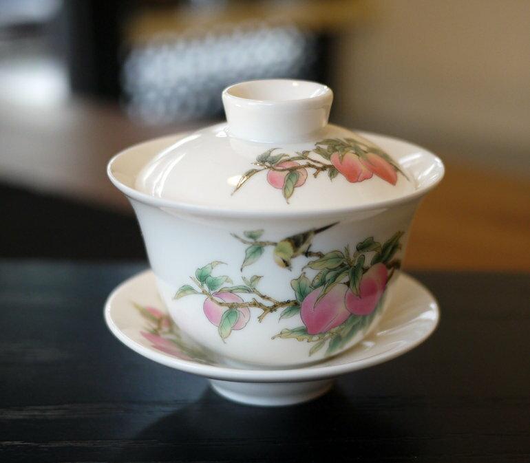 台灣風清堂典藏3號蜜桃茶具組/壽桃大蓋碗/茶海~擺飾泡茶器送禮都好看