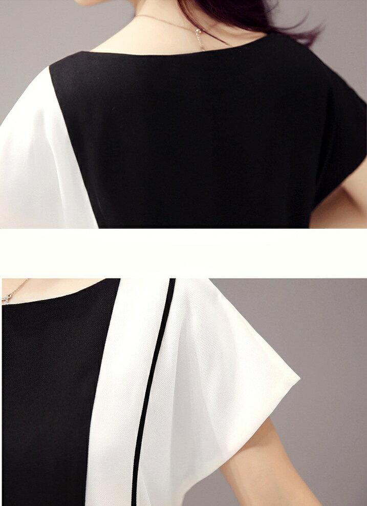 經典時尚.黑白撞色拼接短袖連身裙- shiny藍格子【V2829】 7