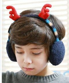 Kocotree◆秋冬可愛聖誕麋鹿角造型兒童保暖耳罩-藏青