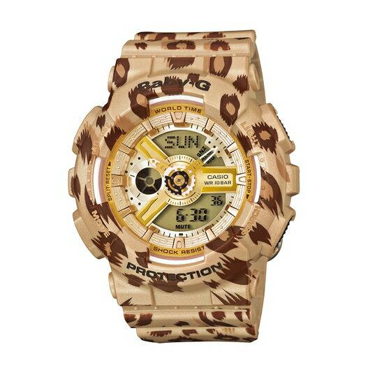 CASIO BABY-G BA-110LP-9A花豹紋雙顯流行腕錶/白面43.4mm
