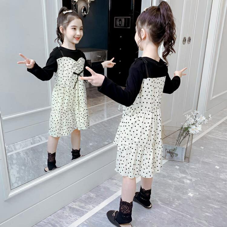 女童秋裝洋裝春秋新款中大童長袖圓點裙子小女孩洋氣公主裙  全館免運