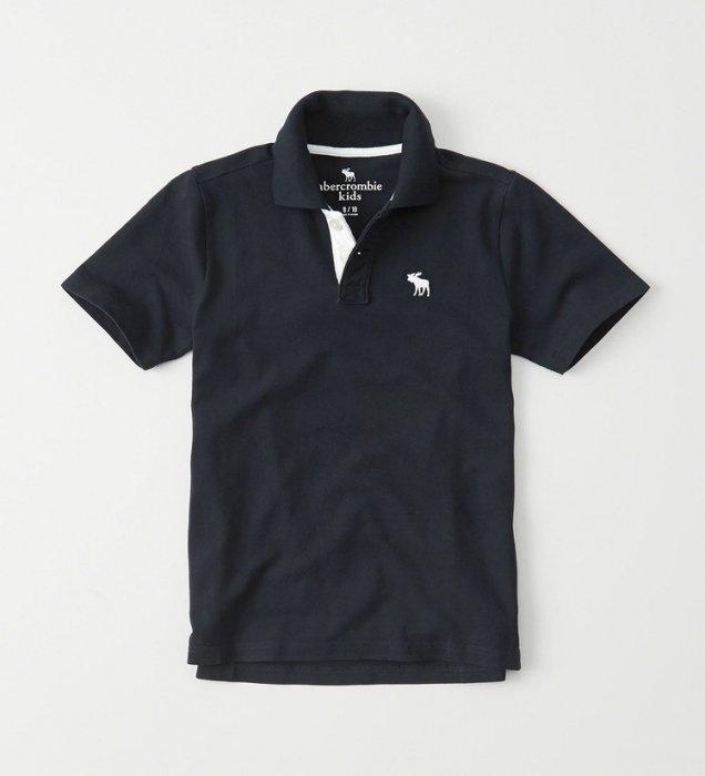 美國百分百【Abercrombie & Fitch】Polo衫 AF 短袖 麋鹿 男 素面 深藍 情侶裝XS S號 H948