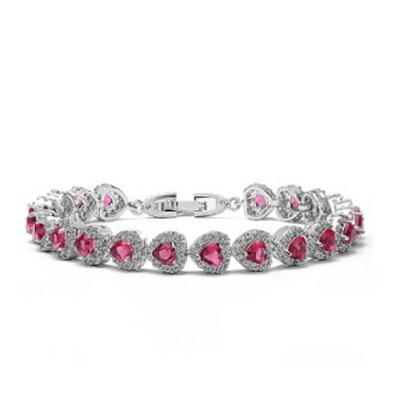 純銀手鍊 鍍白金鑲鑽手環 ~ 華麗 愛心情人節生日 女飾品4色73cv30~ ~~米蘭 ~