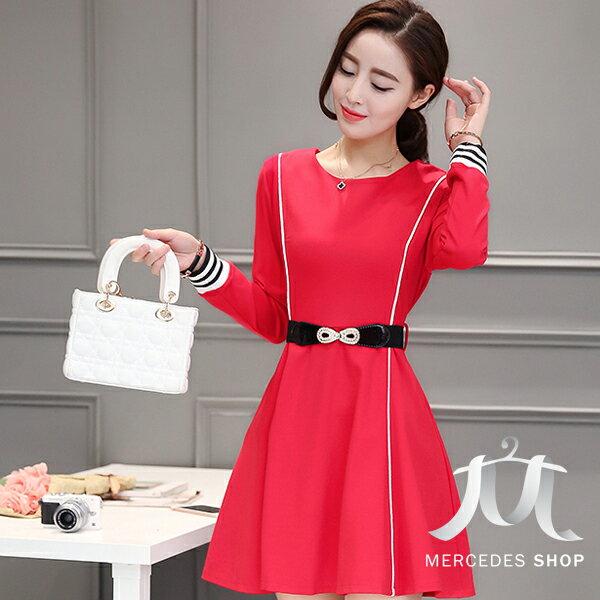 [全店7折]  韓國連線修身顯瘦傘擺長袖洋裝-S-XL - 梅西蒂絲