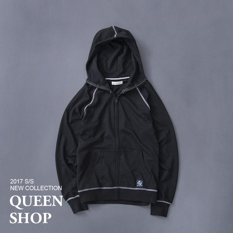Queen Shop~02020488~男裝 剪接羅紋連帽外套 兩色售 S M L XL~