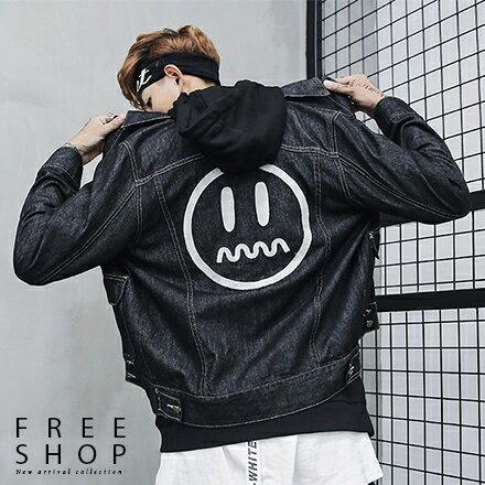 Free Shop:FreeShop暗黑潮系潮流刺繡牛仔外套寬鬆版型情侶款男女款單寧夾克有大尺碼【QAASB7142】