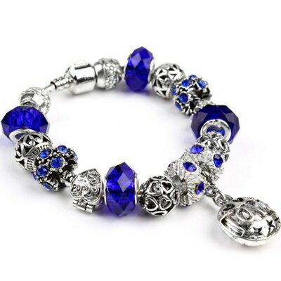 手鍊潘朵拉元素串珠手鍊925純銀 ~水晶飾品藍色氣質精緻七夕情人節生日 女 73bm207