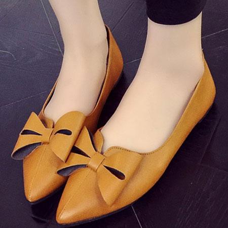 尖頭鞋 歐美復古蝴蝶結尖頭平底鞋【S1560】☆雙兒網☆ 4