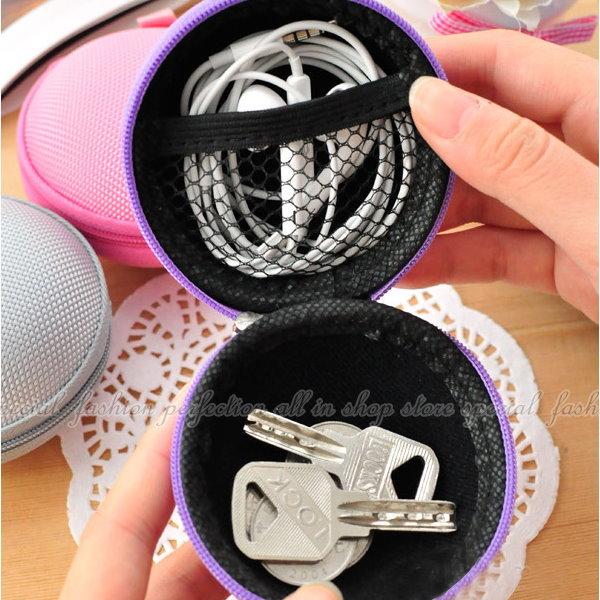 耳機收納包-尼龍 硬殼耳機盒 耳機包 零錢包 充電線收納包【GK333】◎123便利屋◎