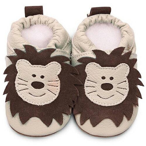 【HELLA 媽咪寶貝】英國 shooshoos 安全無毒真皮手工鞋/學步鞋/嬰兒鞋_米色獅子 _ABG55 (公司貨)