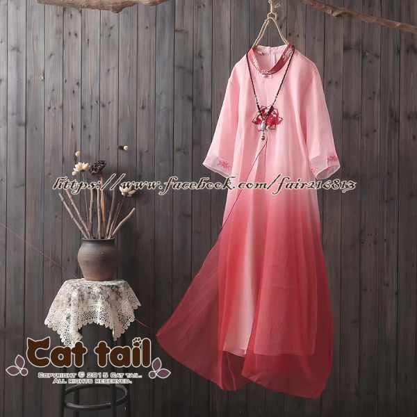 《貓尾巴》CH-01992民族風文藝盤扣造型刺繡短袖連身裙(森林系日系棉麻文青清新)