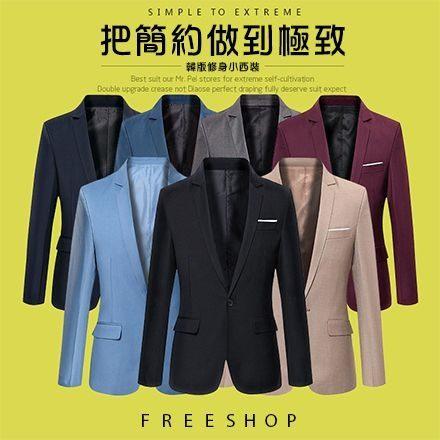 《FreeShop》FreeShop韓版簡約收腰剪裁修身設計質感劍領拼色口袋西裝外套黑灰藍卡其色有大尺碼【QCCDE1089】