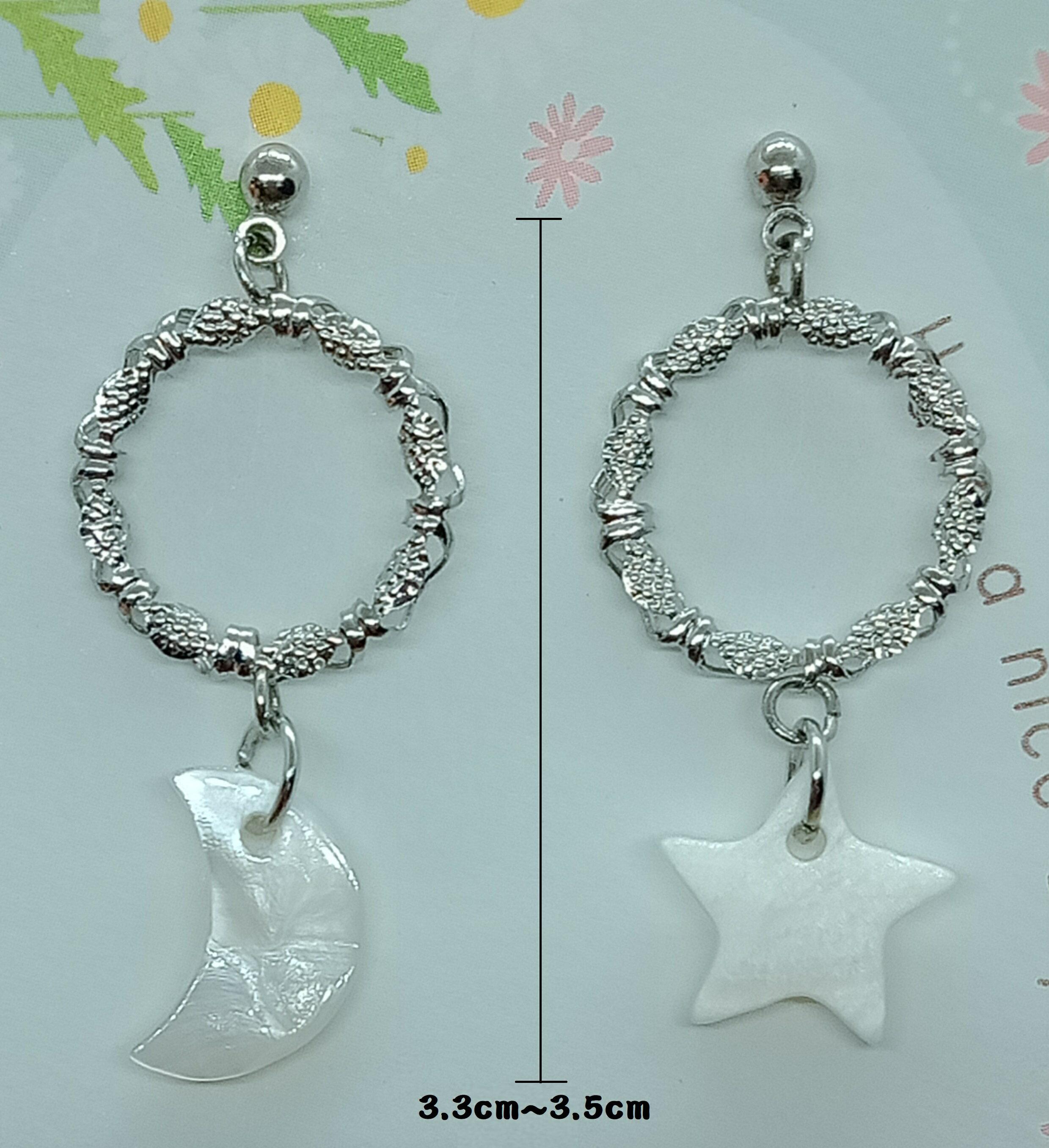 【手創/飾品】Q豆手創坊 雕花星月貝殼耳環 耳釘式耳環