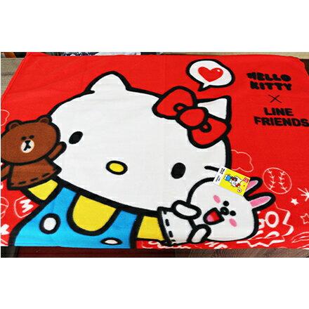 [敵富朗超市]Kitty+LINE小刷毛毯 1