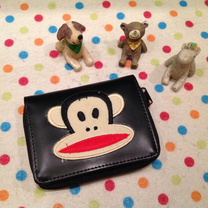 =優生活=大嘴猴 可愛猴 猴子橫式立體造型短夾 卡通皮夾史迪奇造錢包 證件包 拉鍊夾層款