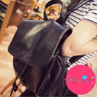 【P048】shiny藍格子-時尚旅行.新款旅行背包單肩雙肩包學院風pu皮書包皮質