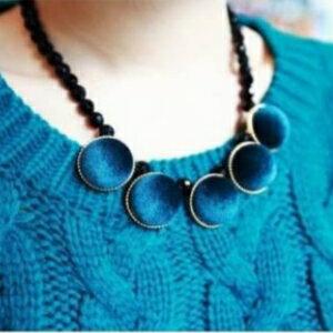 美麗大街【GX0404】 歐美復古風 絲絨圓形正方形幾何圖案撞色短款項鍊毛衣鏈