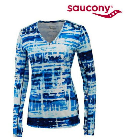 SAUCONY 索康尼 Saucony 女款 吸濕排汗V領衫 SY81504-MIDWH M 一件[陽光樂活]