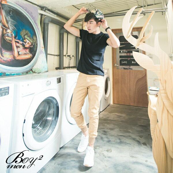 ☆BOY-2☆【NM88047】縮口褲美式街頭潮流休閒素面拼接皮標束口工作褲 4