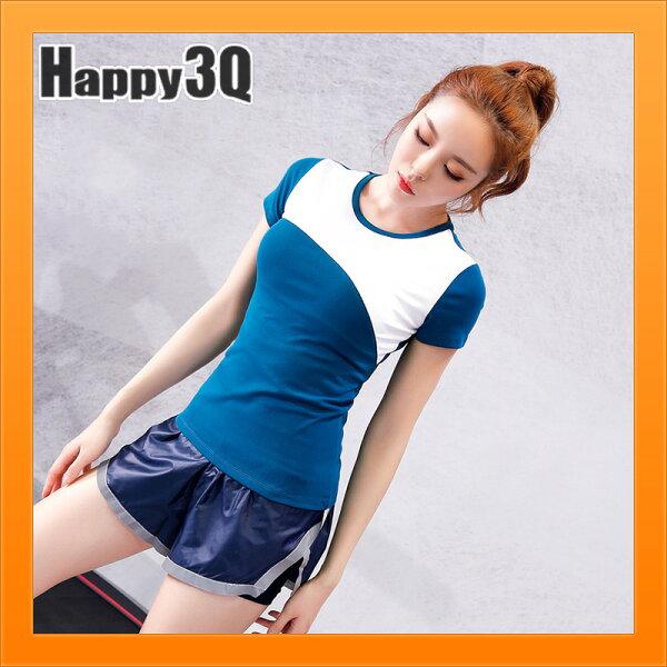女生上衣運動T網球寶貝上衣拚色T撞色上衣腰身顯瘦T-藍灰S-XL【AAA4331】