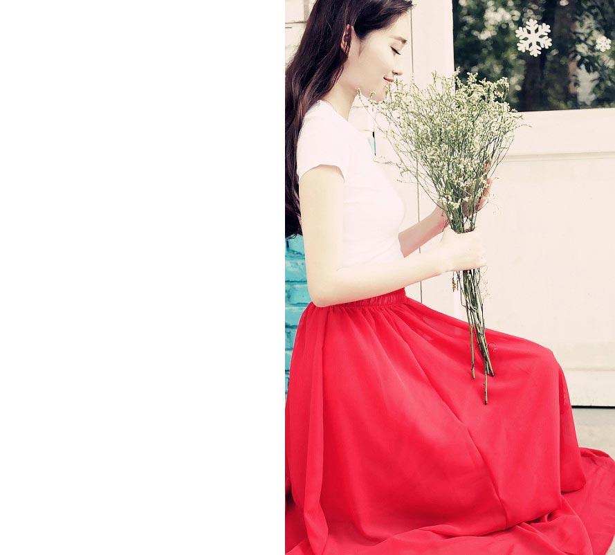 ☆BOBI☆02 / 01必備款百搭多色純色雪紡半身裙長裙【LAC1306-80】 3
