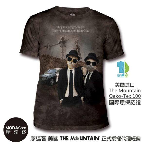 【摩達客】(預購)美國TheMountain都會系列貓咪拍檔中性修身短袖T恤