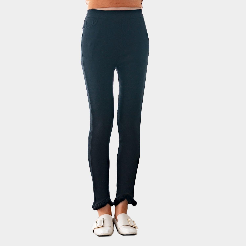 鉛筆褲--舒適保溫拼接真毛鬆緊口袋彈力顯瘦百搭休閒內搭褲(黑XL-5L)-R232眼圈熊中大尺碼 0