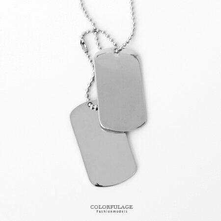 項鍊 雙軍牌 白鋼 雙墜可拆款 珠鍊 剛中帶柔 潮流日系款式 柒彩年代~NB673~ 焦點