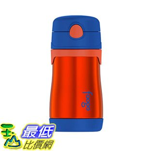 [7美國直購] 保溫杯 THERMOS FOOGO Vacuum Insulated Stainless Steel 10-Ounce Straw Bottle, Orange/Blue