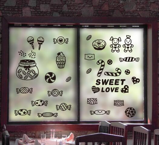 WallFree窩自在★DIY無痕壁貼/牆貼-XL3043-糖果店鋪貼