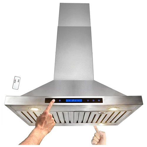 "AKDY 30"" Stainless Steel Island Mount Range Hood Touch Screen Display Light Lamp Baffle Filter RH0173 0"