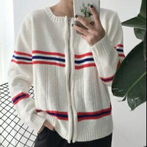 美麗大街【KA6】韓國東大門新品條紋撞色毛衣拉鍊外套女長袖圓領針織開衫