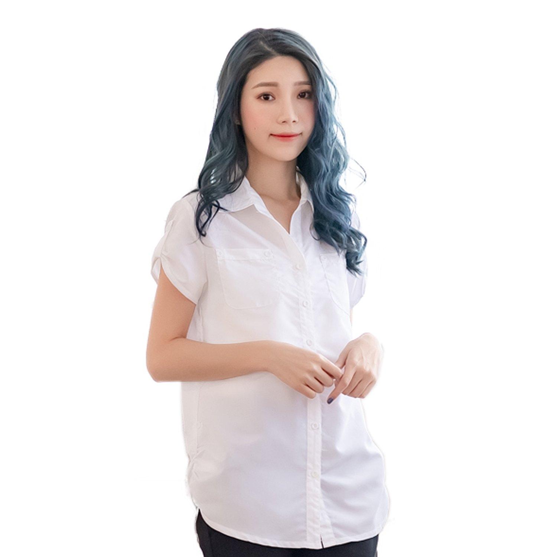 氣質襯衫--優雅迷人抓皺飾帶下襬雙口袋長版短袖襯衫(白.黑.粉.藍S-2L)-H99眼圈熊中大尺碼 2