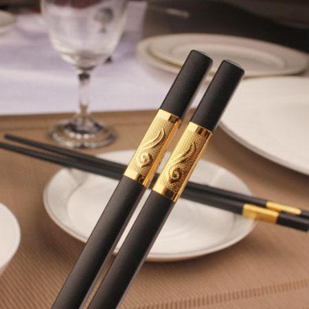 EZMORE購物網:合金筷如意筷(一組五雙)合金筷筷子餐具環保年節必備吉祥開運【B062499】