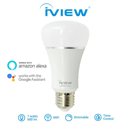 ISB610 - Affordable 7W, 600lm, 85V - 265VAC 50/60Hz, E27/E26 Smart Multi-Color LED WiFi Light Bulb with Wireless Remote App Control from Anywhere, No Hub Required, Amazon Alexa and Google Assistant Compatible
