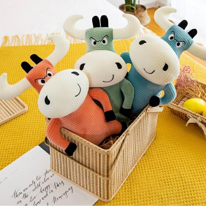 床頭靠枕 牛魔王毛絨玩具公仔生肖牛玩偶布娃娃仿真靠墊公司活動吉祥物