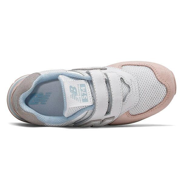 Shoestw【YV574NSE】NEW BALANCE NB574 運動鞋 黏帶 中童鞋 Wide 白粉水藍 2