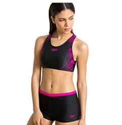 【SPEEDO】 女 運動泳衣 兩截式泳裝 Boom Placement 抗氯快乾-SD811370A715 黑紫
