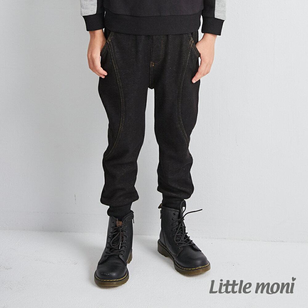 Little moni 內刷绒仿牛仔針織長褲-黑色(好窩生活節) 1