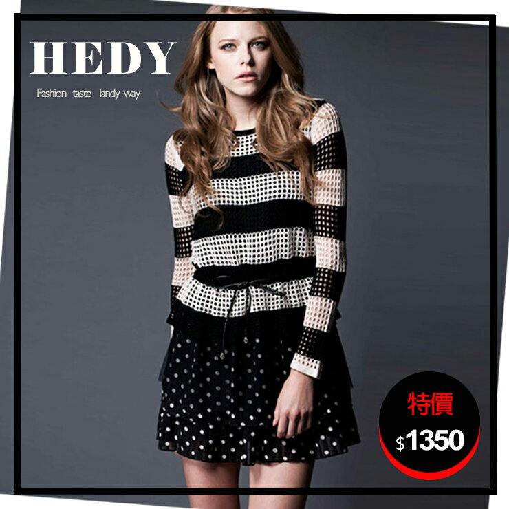 【HEDY 赫蒂】 圓領 橫條 針織 雪紡點點裙擺 假兩件 抽繩 洋裝(杏黑色)