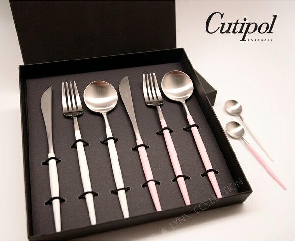 母親節葡萄牙CutipolGOA系列春天雙人餐具粉銀+白銀件禮盒組售完★加開【點心叉匙筷組6件組】】
