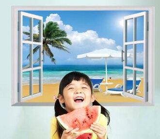 WallFree 窩自在★DIY無痕壁貼/牆貼-假窗海邊度假-SK7019A
