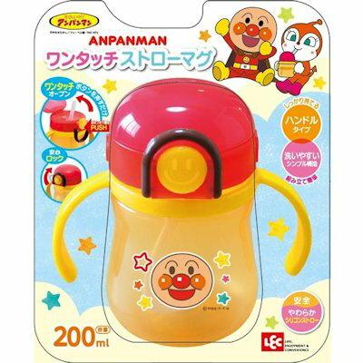 【真愛日本】15101000015 造型安全扣吸管雙耳水壺200ml-AP Anpanman 麵包超人 水壺 兒童用品