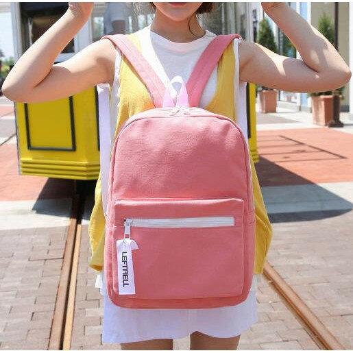 甜心小舖?九色帆布素色後背包?韓版背包 書包 旅行包 休閒包 包包