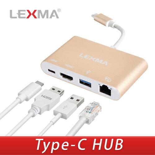 迪特軍3C:LEXMAHD-P020四合一轉接器Type-CHUB支援超高4k解析度HDMI輸出USB3.1接口【迪特軍】