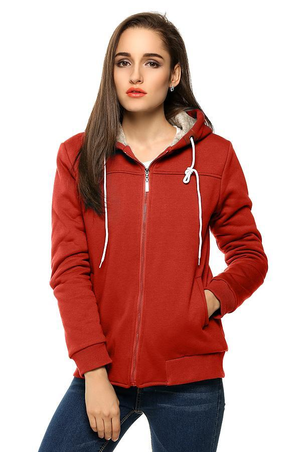 Women Casual Hooded Zipper Closure Pure Color Thick Leisure Sports Slim Tops Hoodie Sweatshirt 1