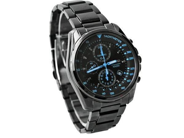SEIKO 精工錶 藍極光全黑真三眼不鏽鋼手錶 柒彩年代~NE820~防水100米