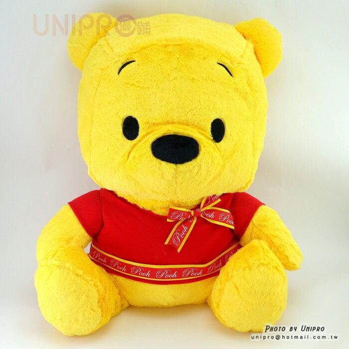 【UNIPRO】迪士尼 小熊維尼 phoon 學院風 蝴蝶結緞帶 46公分 絨毛玩偶 娃娃 畢業 生日 祝福 禮物
