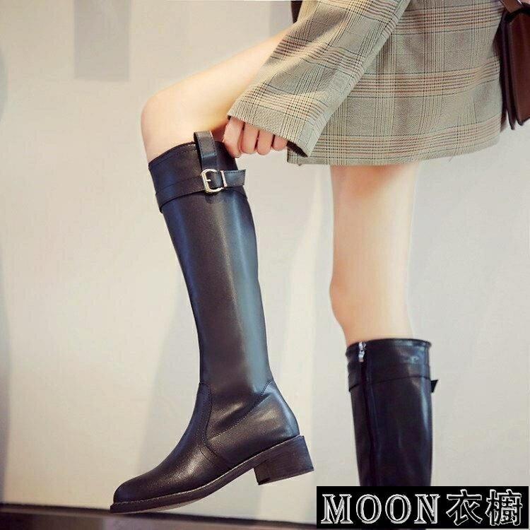 長靴女 粗跟不過膝高筒軍靴長筒皮靴女網紅瘦瘦靴秋冬新款直筒騎士靴 麻吉好貨